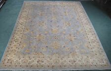 Peshawar rug hand knotted wool new from Pakistan pale blue 10x14 #004812