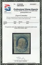 US # 9 USED { JUMBO -XF- W/ PSE CERT } LIGHT PEN CANCEL 1c FRANKLIN TYPE IV 1852