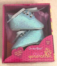 """Our Generation Shoes On The Glow Blue Sparkle Lace Ups for 18"""" Doll New!"""