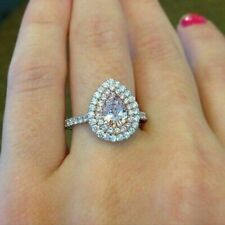 Engagement Wedding Ring 925 Sterling Silver Double Halo Style 2ct Pear Cut Stone