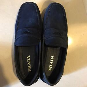 Brand new Prada Men's suede loafers in blue with black leather trimmings size 7