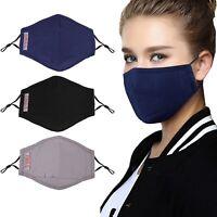 3 Masque de protection tissu coton lavable avec 6 filtres PM 2.5