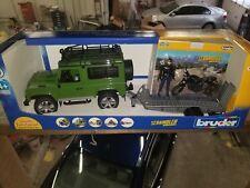 Bruder Land Rover w/ Trailer Scrambler Ducati Cafe Racer & Driver 02598