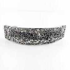 USA BARRETTE Rhinestone Crystal Hairpin Claw Clip Metal Vintage Simple Silver 12