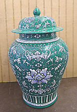 "Hand Painted Green Flower Porcelain Temple Jar Vase 15""h x 9""w"