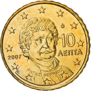 [#381958] Grèce, 10 Euro Cent, 2007, Athènes, SUP+, Laiton, KM:211