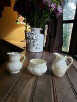 Lot 3 VTG Belleek 1st Green Mark Lily White Porcelain Creamer & Sugar Bowl Set