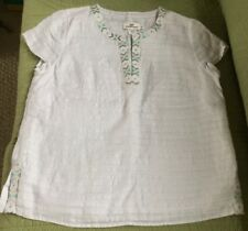 NEW VINEYARD VINES WHITE EMBROIDERED LINEN SHORT TUNIC TOP COTTON LINED SIZE M