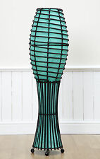 100cm Hand Crafted Wicker and Rattan, Aqua Rocket Fabric Floor Standing Lamp