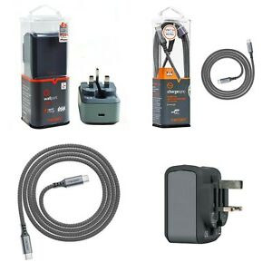 Ventev Wallport 18W UK 3 Pin Plug USB-C 1.2M 4ft USB C to USB C Cable Dark Grey