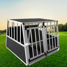 Aluminum Large Dog Cage for Car 2 Door with Divider Travel Carry Pet Car Safety