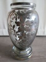 antico vaso vetro con decorazioni argento
