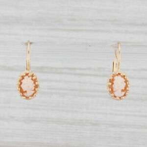Vintage Carved Shell Cameo Drop Earrings 14k Yellow Gold Figural