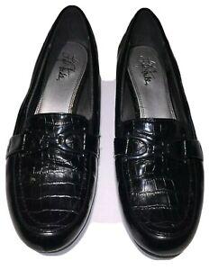 Life Stride Dempsey Black Croc Loafer (US Size 9M Women's)