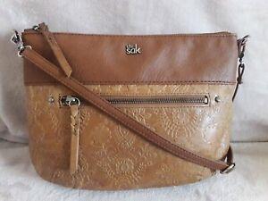 """The Sak Floral Embossed 2 Tone Brown Genuine Leather Crossbody Shoulder Bag11×9"""""""