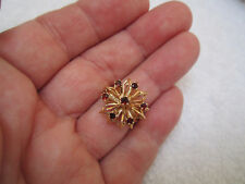 Vintage Heavy 14k Solid Yellow Gold Garnet Ring -  3/4 inch top width - Size 7