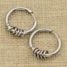 Punk Stainless Steel 5 Ring Coil Earrings Ear Stud Fashion Party Jewelry Gifts