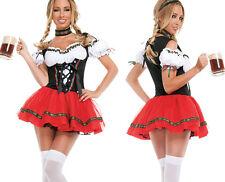 Beer Maid Wench Costume German Bavarian Oktoberfest Halter Fancy Dress Outfit M