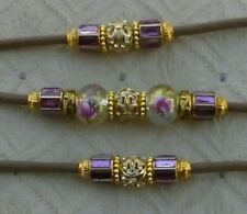 New Beaded Dog Show Lead,light brown or purple or gold,clip,elite heirloom beads