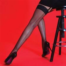 Womens Silky Scarlet Fishnet Backseam Lace Top Stockings Black One Size