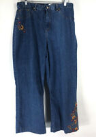 Alfred Dunner Petite size 16P Jeans Floral Embroidery Hippie Boho Capri Cropped