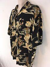 Tommy Bahama Mens L Black Hawaiian Rayon Shirt