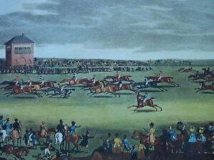HORSE RACING Print NEWMARKET RACES Engraving by James Pollard