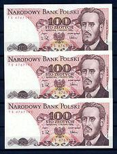 Polskie Banknoty 100 zł, z serii TS, 3 sztuki, 1988r. Ludwik Waryński.