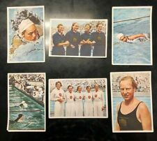 1936 Berlin Olympics 6 Franck cards SWIMMING, Rie Mastenbroek Freestyle GOLD