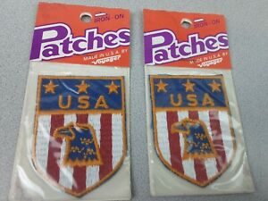 Vintage Voyager USA American Eagle Iron-On Embroidered Patches - NIP