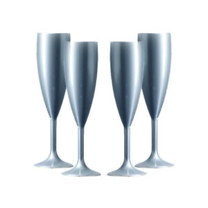 Plastic Polycarbonate Champagne Flutes - Silver  - Made in UK