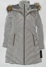 Jones New York Faux Fur Trim Hooded Down Puffer Coat Warm Gray Small (S) NWT