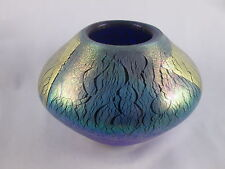 Vintage Signed Robert Eickholt 1989 Iridescent Dichroic Art Glass Vase Gold Foil