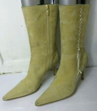 Next Womens Nude/Beige Suede Ankle/Mid Calf Stiletto Heels Boots Shoes Size UK 7