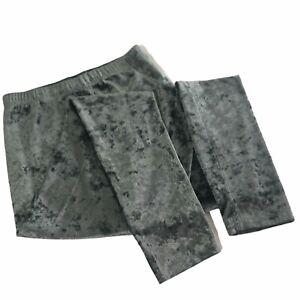 Dangerfield Women's Leggings Grey Velvet Crushed Size L Stretch Luxe Designer