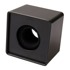 1pc Black ABS Mic Microphone Interview Square Cube Logo Flag Station T1