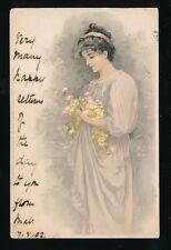 Glamour Meissner & Buch Lady Flowers 1902 u/b PPC