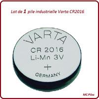 1 pile bouton CR2016 lithium Varta Industrielle, livraison rapide et gratuite