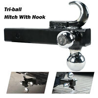 "Tri-Ball Hitch With Hook Heavy Duty 3-in-1 Mount Trailer 1 7/8"" 2"" 2 5/16"" Tow"