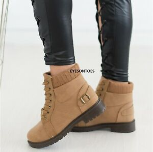 LADIES WOMENS ANKLE DESERT TRAIL WINTER LACE UP COMBAT WALKING BOOTS SHOES SIZE