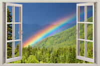 NEW rainbow beach 3D Window View Wall Stickers Art Mural Wall Decal Decor DIY