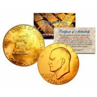 2 EISENHOWER IKE DOLLAR *Moon Landing of Apollo 11*24 KT GOLD PLATED-IN CAPSULE