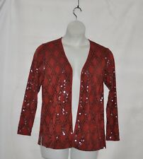 Bob Mackie Open Front Knit Cardigan with Sequin Detail Size S Spice