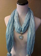 North Carolina Licensed Pendant, on a Powder blue team color Fringed scarf