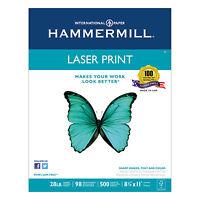Hammermill Laser Print Office Paper 98 Brightness 28lb 8-1/2 x 11 White 500 Shts