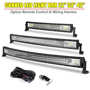 "22"" 32"" 42"" Curved LED Light Bar Offroad Tri Row Combo SUV ATV UTV Wiring Remote"