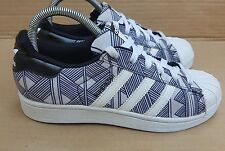 ADIDAS SUPERSTAR BLUE AND WHITE FARM PRINT SIZE 4 UK GOOD CONDITION RARE DESIGN
