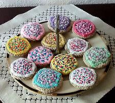 6 Hand Crochet ICED SUGAR COOKIES pretend PLAY FOOD amigurumi Dessert TOY