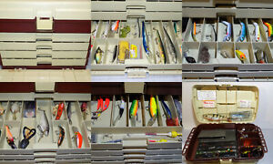 Vintage PLANO  B I G  Tackle Box 4 Drawers Fishing Gear Large Plastic FULL  L@@K