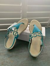 PAIR OF ONEX TURQUOISE LADIES SANDALS SIZE 9 WHICH EQUALS AN 8 STYLE HOLLY